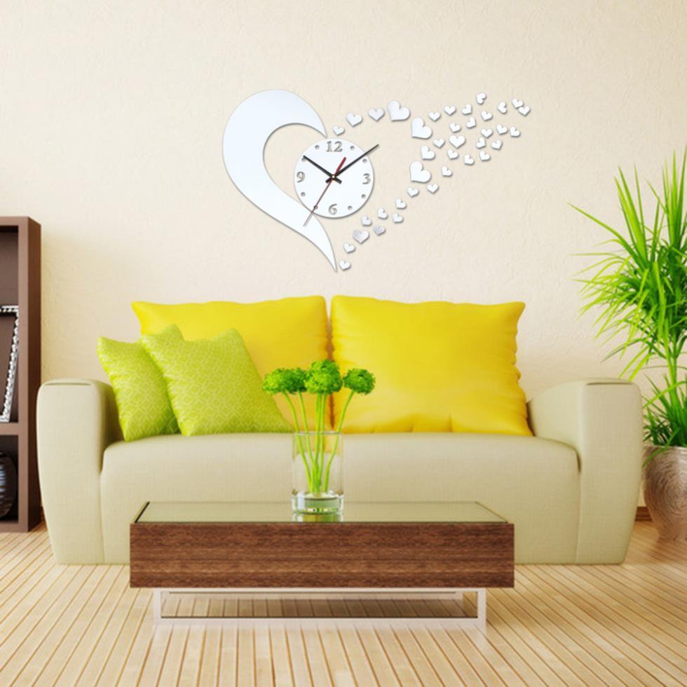 2017 DIY 3D Mirror Wall Stickers Love Pattern Modern Living Room ...