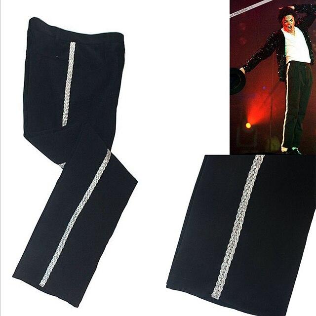 Rare MJ Michael Jackson Sliver Banda Billie Jean Caviglia-lunghezza  Pantaloni Pantaloni Casual Dritto Per 87fea101f87d