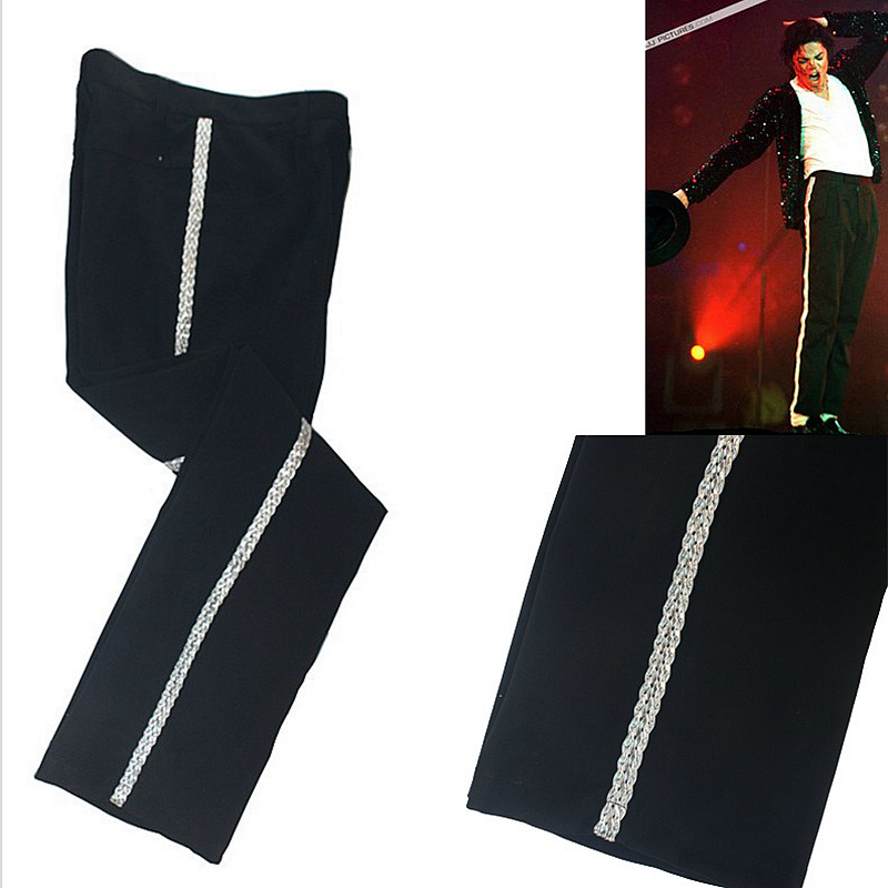 Rare MJ Michael Jackson Sliver Straight Casual Stripe Billie Jean Ankle -length Pants Trousers For Collection Show Gift