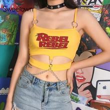 Sweetown Moto & Biker Punk Rỗng Ra Crop Top Yếm In Chữ Dây Kim Loại Gợi Cảm Cao Cấp Cho Nữ Clubwear Ngày Lễ quần áo