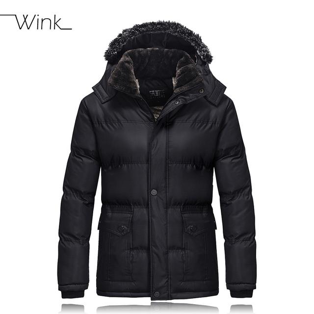Homens Inverno Quente grossa de Lã Casacos Jaquetas Da Marca de Moda Com Capuz Gola de pele Para Baixo Acolchoado Homens Casuais Parkas Com Capuz Outwear E438