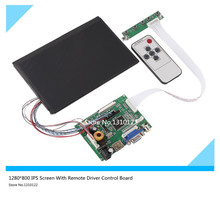"""On sale 7""""Inches LCD Display High Resolution 1280*800 IPS Screen With Remote Driver Control Board 2AV HDMI VGA for Raspberry Pi"""