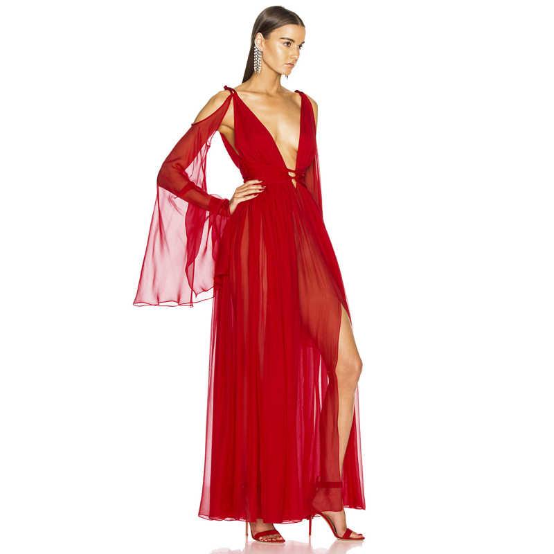 Gosexy 2019 חדש אופנה סקסית לצלול מחשוף מגזרת רשת ארוך שרוולים רופף מחוך מקסי שמלה אדום מסיבת סדק שמלת Vestidos