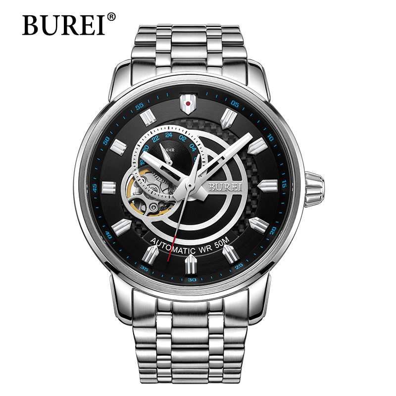 BUREI Men Mechanical Rose Gold Watch Stainless Steel Brand New Watches Mens Tag Clock Luxury Automatic Man Wristwatches Hot Sale ювелирное изделие 65445
