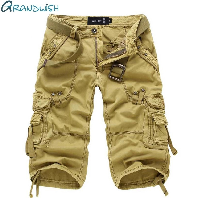 Grandwish Cotton Cargo Shorts Men Loose Military Mens Homme Shorts Baggy Solid Multi-Pocket Male Cargo Shorts NO BELT,DA711