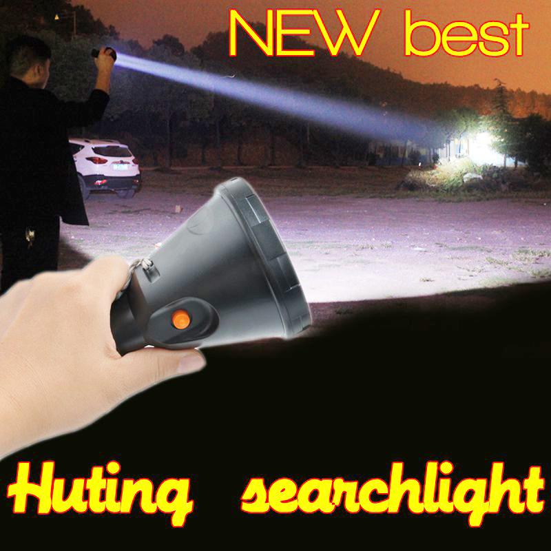 High power Led portable Hand held hunting flashliht t6 rechargeable lithium battery searchlight outdoor lighting for