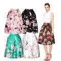 ISTider New Arrival Women Fashion Midi Skirts Plum Flower 3D Print Pleated High Waist Vintage tutu Skirt White Black Blue Skirt