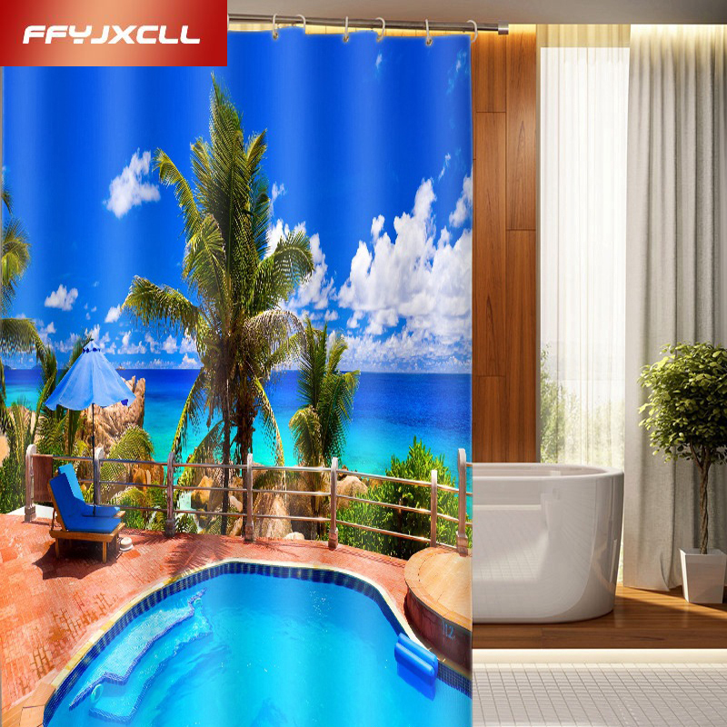 2018 Villa Swimming Pool Printing Polyester Shower Curtain Waterproof Mildew Home Bathroom Curtain Custom Made Szie