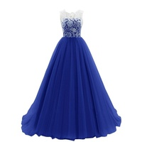 Summer Fashion Women Wedding Sexy Lace Dress Prom Party Gown Dresses Blue Color Size Plus