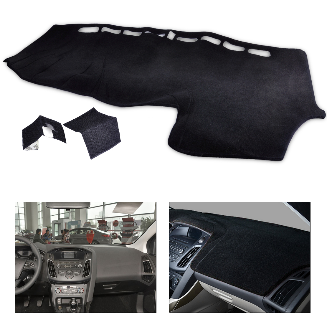 DWCX LHD Inner Dashboard Carpet Dash Cover Pad DashMat Mat Sun Shade Protector fit for Ford Focus MK3 2012 2013 2014 2015 2016 dashboard cover