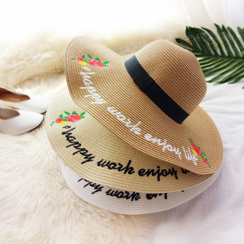 Analytical 2017 New Creative English Alphabet Roses Big Straw Hat Female Travel Holiday Sun Hat Big Hat