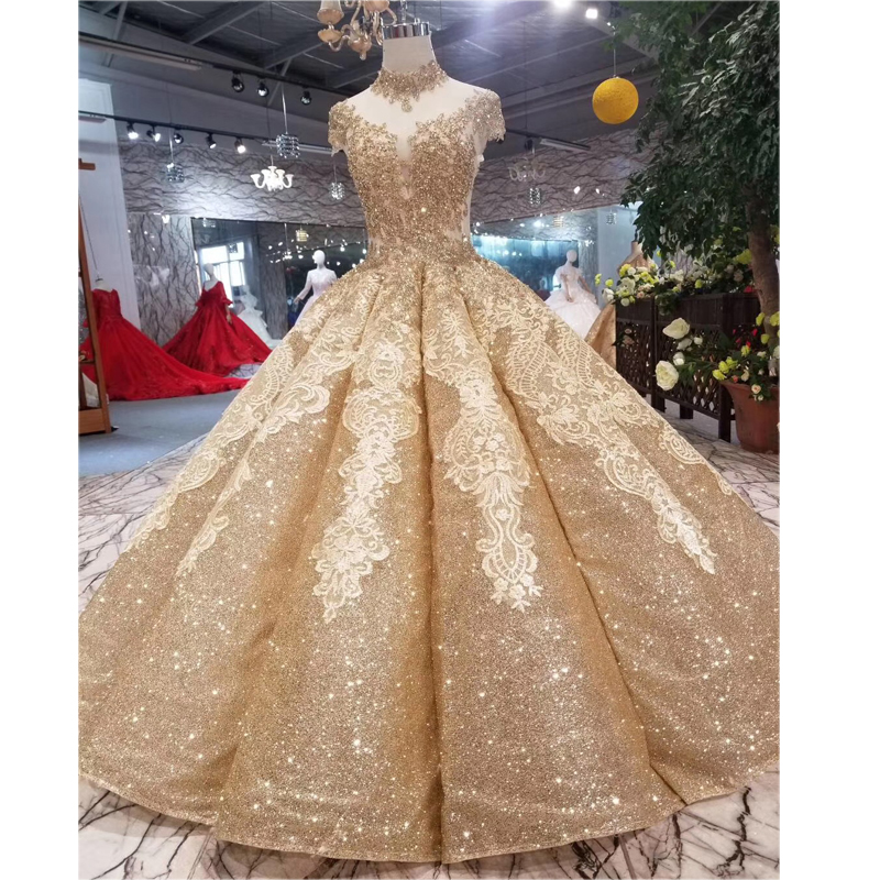 Glitter Wedding Gowns: Colorful Gold Glitter Fabric Ball Gowns Wedding Dresses