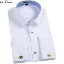 Bianyilong мужчин французские запонки рубашка Новинка 2017 года с длинным рукавом Повседневные мужские брендовые Slim Fit манжетой жениться мужские рубашки
