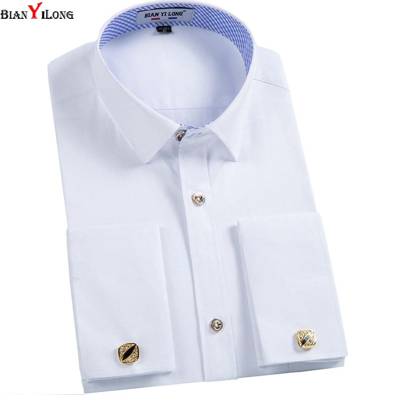 Bianyilong Men French Cuff Links Shirt 2018 New Long Sleeve Casual Male Brand Slim Fit French Cuff Marry Dress Men Shirt