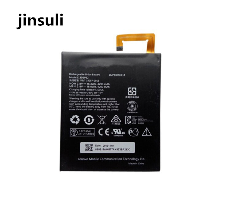 jinsuli 100% tested for  Lenovo Lepad A8-50 A5500 Tab S8-50 Battery  L13D1P32  Battery 4290mAh