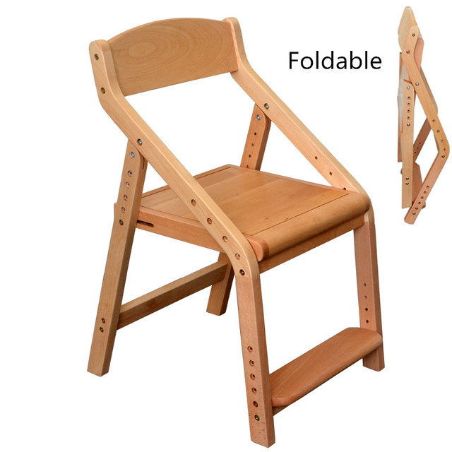 Foldable And Height Adjsutable Children S Chair Solid Wood With Oil Finish Kids Furniture Desk Computer Dining