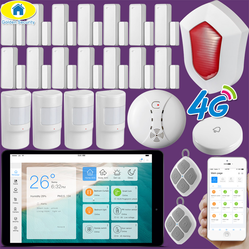 Golden Security 10 Touch LCD LORA WiFi 3G 4G Alarm System Smart Home IOT System Home Automation Alarm Security Siren,Sensors newest 3g home security alarm system