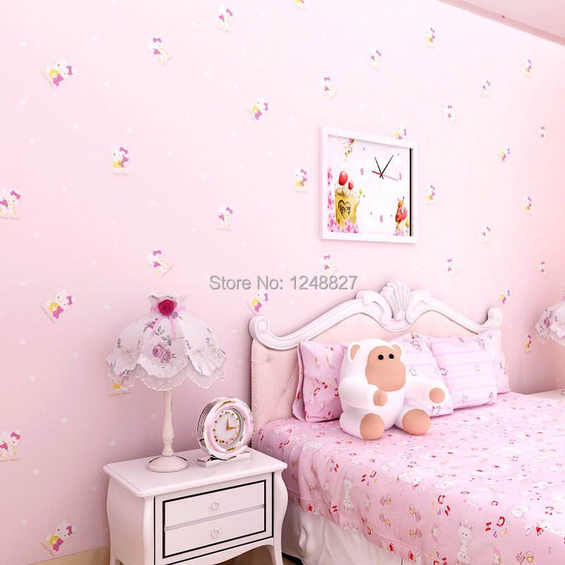 0.53m*10m Lovely Paper WallpaperS Hello Kitty Cute Children's room wall  decoration Green wallpaper girls bedroom wallpaper-in Wallpapers from Home  ...