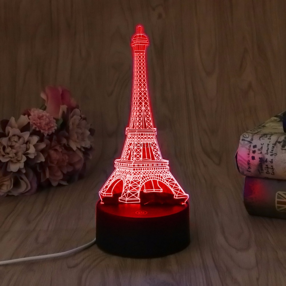 USB Eiffel Tower LED Night Light Novelty 7 Colors Changing 3D Desk Table  Lamp Home Decor - Online Buy Wholesale Eiffel Tower Table Decorations From China