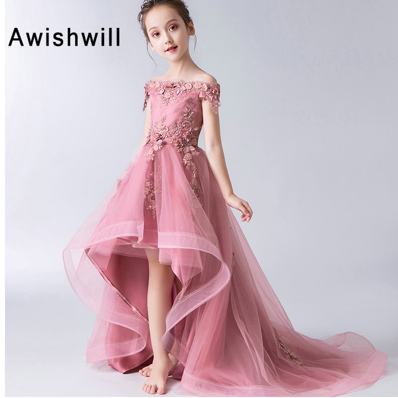 2019   Girl   Party   Dress   Off The Shoulder   Flower     Girl     Dress   Boat Neck Lace Tulle High Low Pageant Gowns First Communion   Dresses