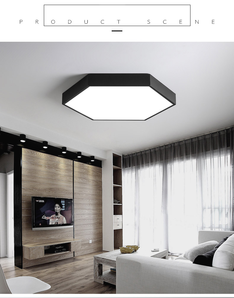 HTB1L6dnV3HqK1RjSZFgq6y7JXXaB DX Hexagon LED Ceiling Light Modern Lamp Living Room Lighting Fixture Bedroom Kitchen Surface Mount Flush Panel Remote Control