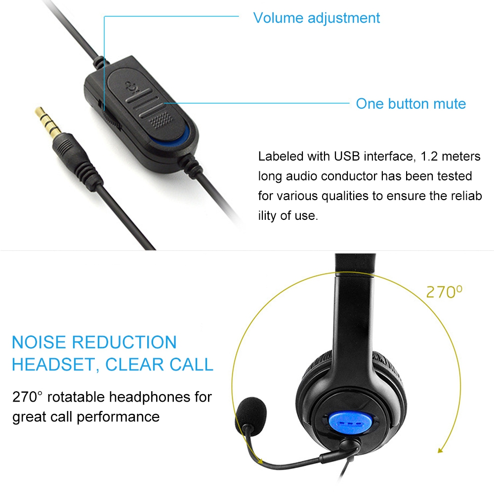 Stereo Gaming Headset Wired 3 5mm Stereo Earphone for Xbox one PS4 PC Surround Sound with Microphone Noise Canceling Earphone in Headphone Headset from Consumer Electronics