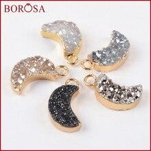 BOROSA 10PCS Gold Color Rainbow Titanium Crystal Druzy Moon Shape Druzy Charm Drusy Pendant Jewelry for Earrings Making G1175