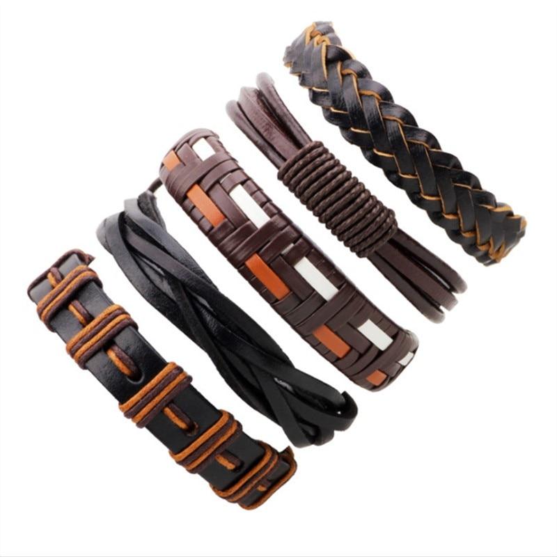 5-Piece Bracelet Set in Brown Orange Color Tones