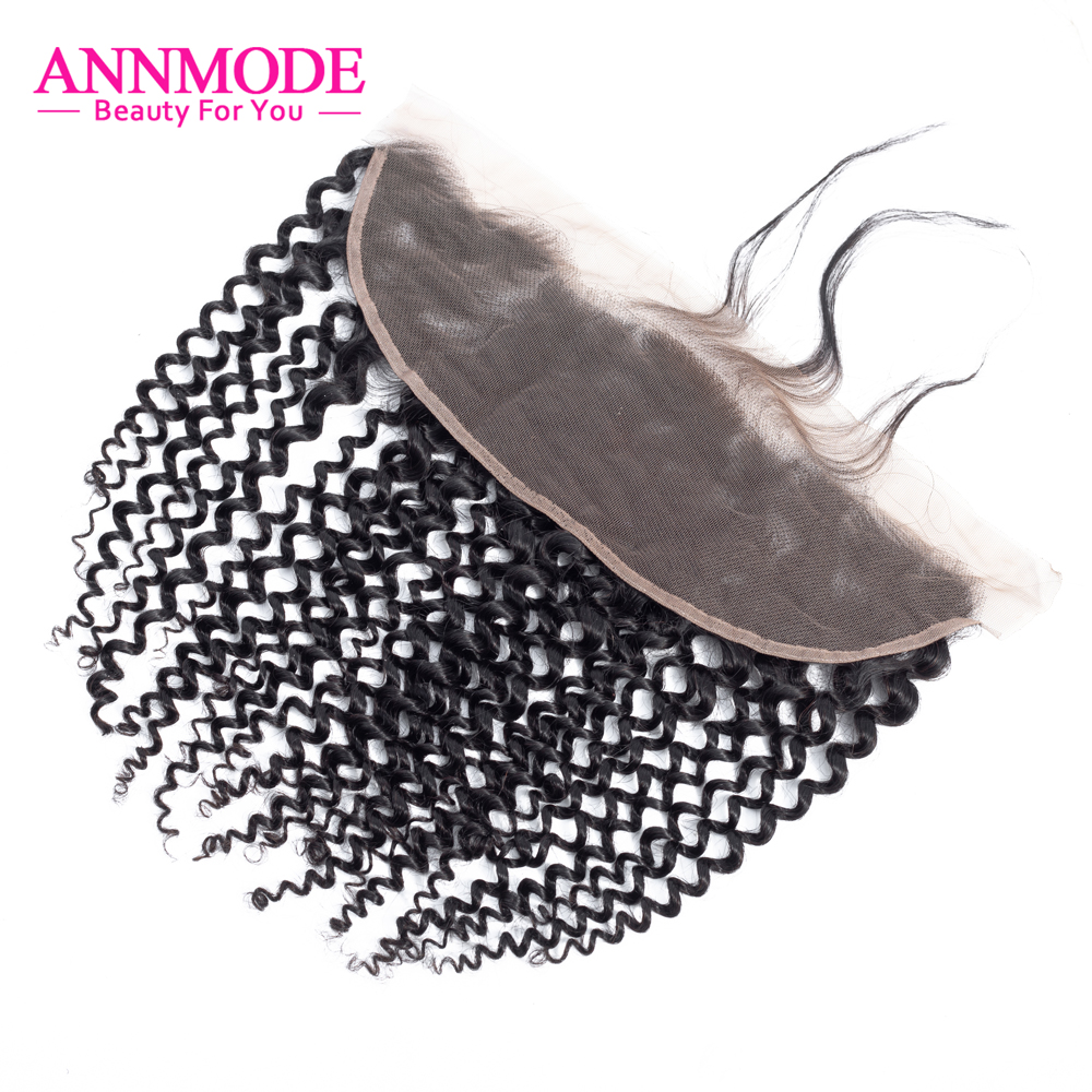 Annmode Hair Kinky Curly Frontal With Baby Hair 13x4 Inch Brazilian Human Hair Closure Non Remy Hair Extensions Free Shipping