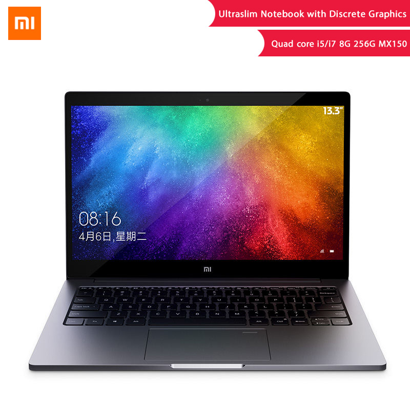 Original Xiaomi portátil de aire 13,3 8 GB DDR4 256GB SSD Intel i5 Quad Core i7 Notebook MX150 2 GB huella digital reconocer Ultraslim PC