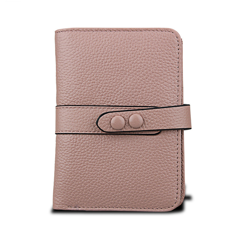 Artmi Lady Genuine Leather Wallet Card Holder Hand Bag RFID Blocking Cash Hasp Wallet with ID Window