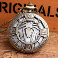 New Unique Hollow Spider Design Bronze Pocket Watch with FOB Chain Super Hero Spider-Man Fans Quartz Pocket Watch For Mens Gifts