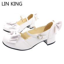 Купить с кэшбэком LIN KING Casual Bowtie Women Pumps Square Heel Leather Low Top Shoes Lady Solid Round Toe Pumps Cute Buckle Lolita Party Shoes