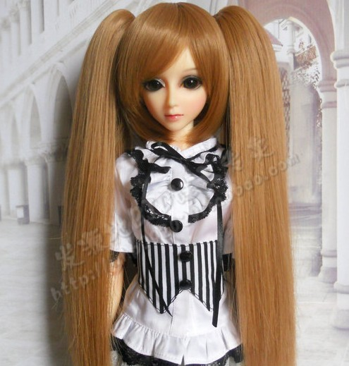 doll accessories 1/3 1/4 Bjd wig doll hair dual uses detachable double ponytails long straight girl female miku cool cute- ga33 wig refires bjd hair 25cm length black brown flaxen golden natrual color long straight wig hair for 1 3 1 4 bjd diy