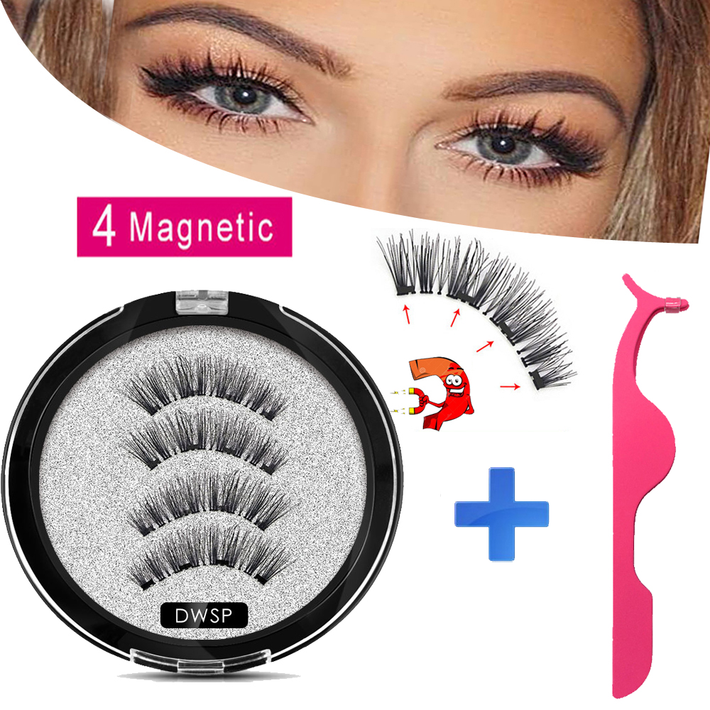 MB Magnetic Eyelashes With 4 Magnets Mink Eyelashes Natural Long With Applicator Faux Cils Magnetique False Lashes Extension