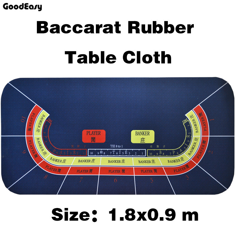 180*90cm  Baccarat Suede Rubber Texas Hold'em Black Jack 21Points Casino Poker Tablecloth Water Resistant Poker Table Game Mat-1