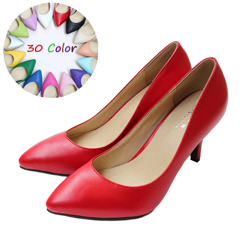 2017 Spring Summer Genuine Leather Women Shoes Sexy High Heels Ladies Pumps Fashion Simple Wedding Party stiletto High Quality