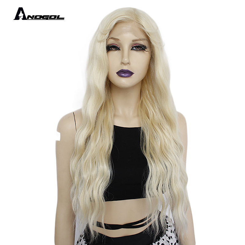 ANOGOL Long Water Wave Platinum Blonde 613 Synthetic Lace Front Wig With Baby Hair High Temperature Fiber Wig For White Women