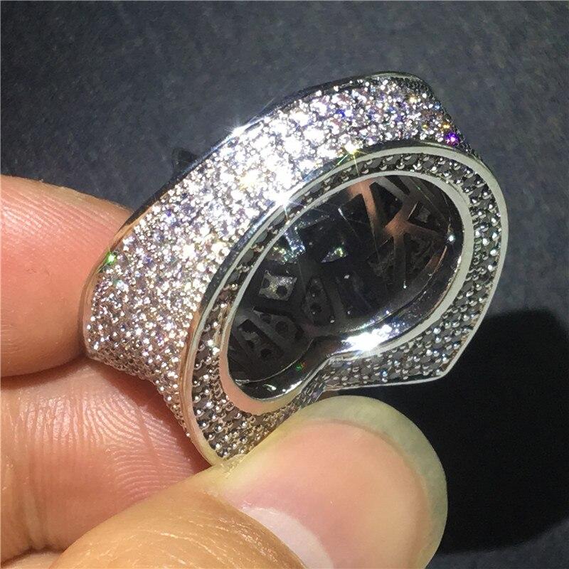 Grosse étoile mâle Hiphop anneau or blanc rempli Micro Pave 500 pièces AAAAA Cz fête anniversaire bande anneaux pour hommes mode Rock bijoux - 3