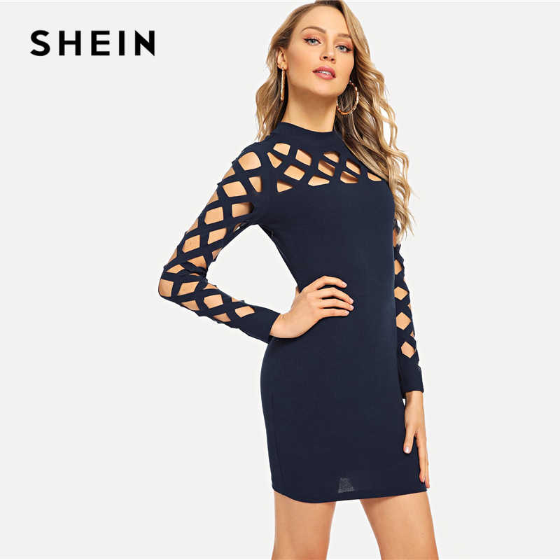 fa3ff0c406 ... SHEIN Blue Office Lady Solid Mock-Neck Square Cutout Bodycon Long  Sleeve Dress 2018 Autumn ...