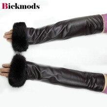 Luvas de pele de carneiro 40 cm longo braço manga moda feminina coelho pele manguito veludo forro quente feminino luvas de couro frete grátis