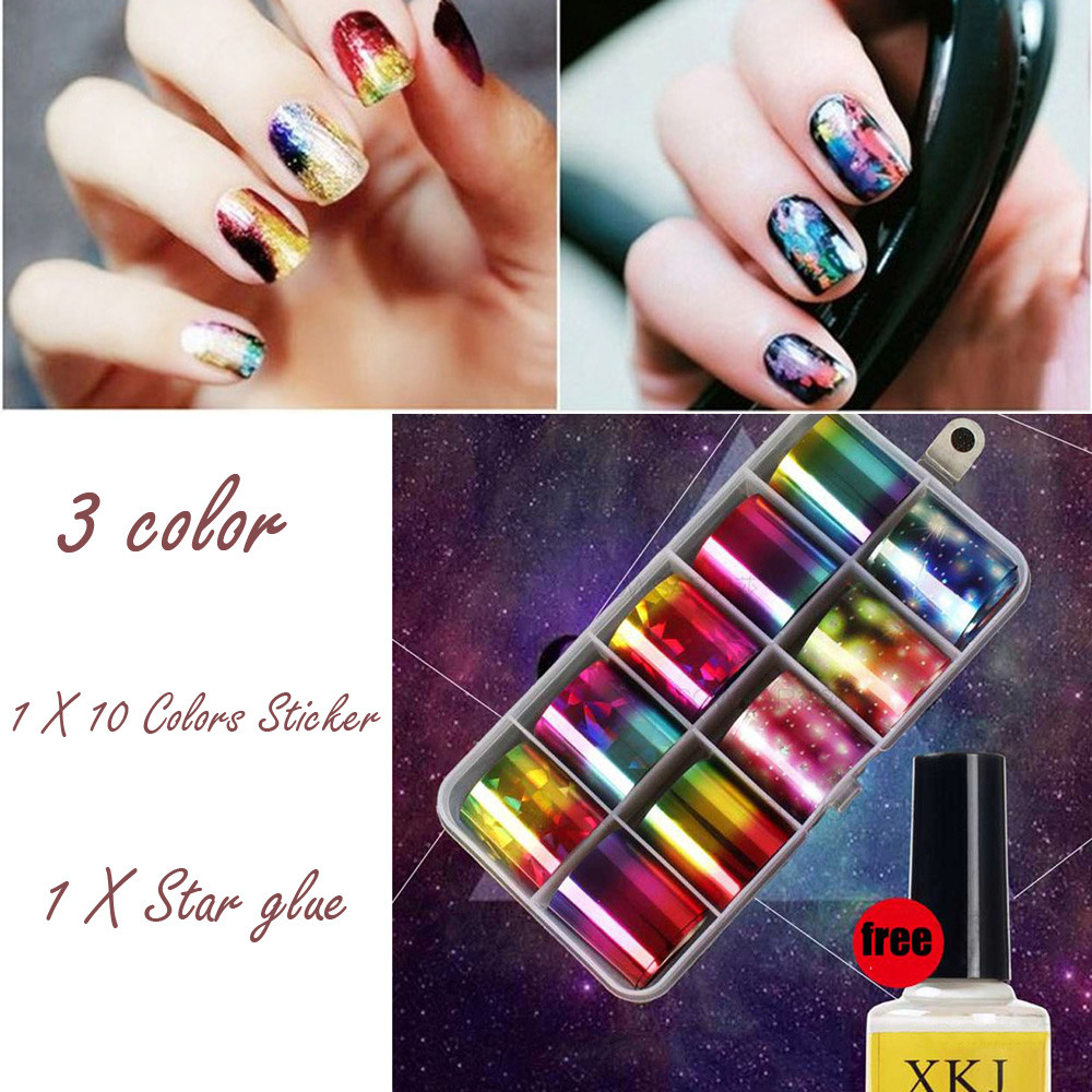 12ml Nail Art Transfer Foil 10 Colors Sticker For Nail Tip Decoration & Star Glue Set nails accessoires gel varnish f lashes 50pcs set starry sky star nail sticker art nail gel water transfer stickers decals tip decoration diy nails accessories
