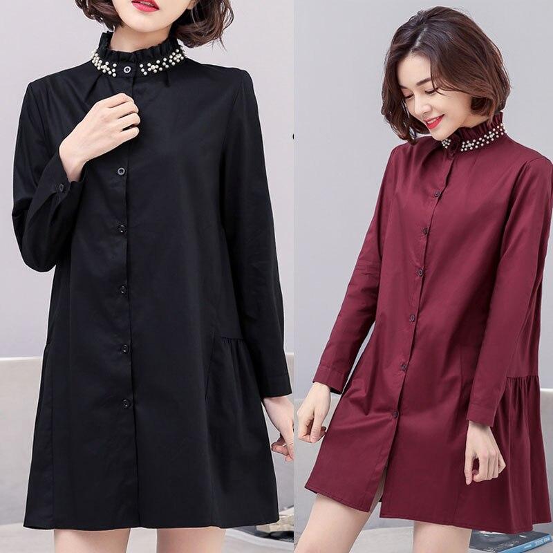 c49621459e39 Comprar XL 5XL Vintage Camisa Ropa Mujer Primavera Cuello Alto ...