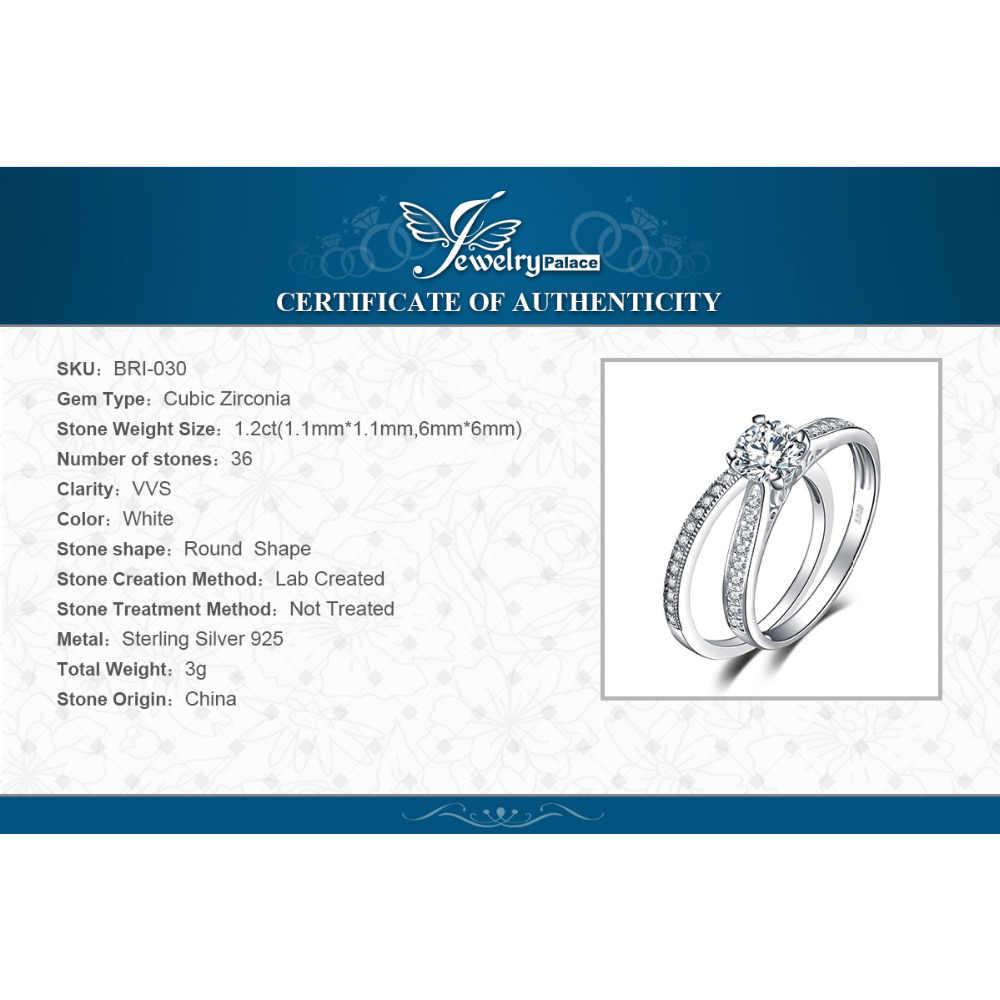 JPalace CZ หมั้นแหวน 925 แหวนเงินสเตอร์ลิงสำหรับผู้หญิงแหวนแต่งงานเจ้าสาวชุดเงิน 925