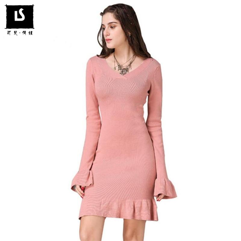 Women Wool Sweater Dress Autumn Winter Warm Causal Sexy V-neck Full Sleeve Knit Ruffle Design Dresses Women Slim Elegant Dress