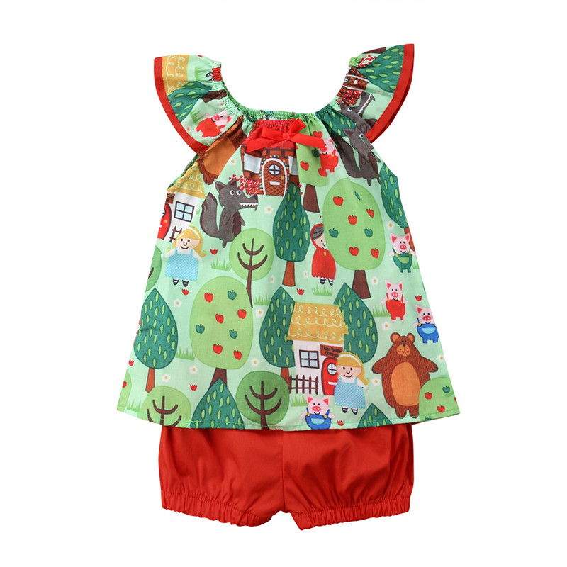 Toddler Kids Children Baby Girl Clothes Set Summer Sleeveless Tops Shorts Girls Clothing Cotton Cute 2Pcs Summer Outfits