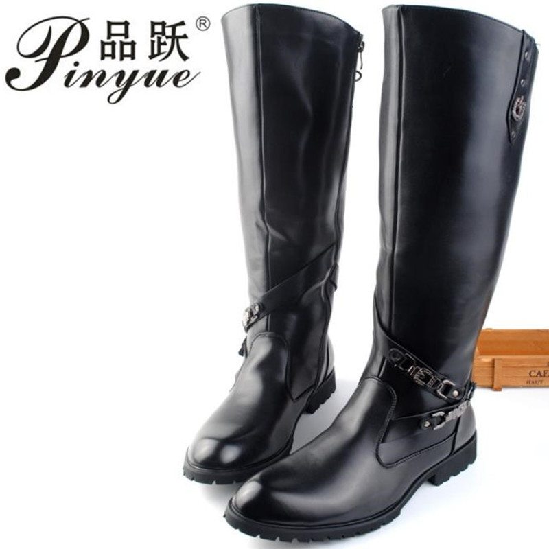 New Arrival Black Long Knee Boots Men Round Toe Buckle High Top Casual PU leather Shoes Man Motorcycle Boots Size 38-44