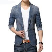 Loldeal 2018 Men's Spring Fashion Brand Blazer Men's Slim Fit Jeans Casual Men's Slim Fit Denim Blazer