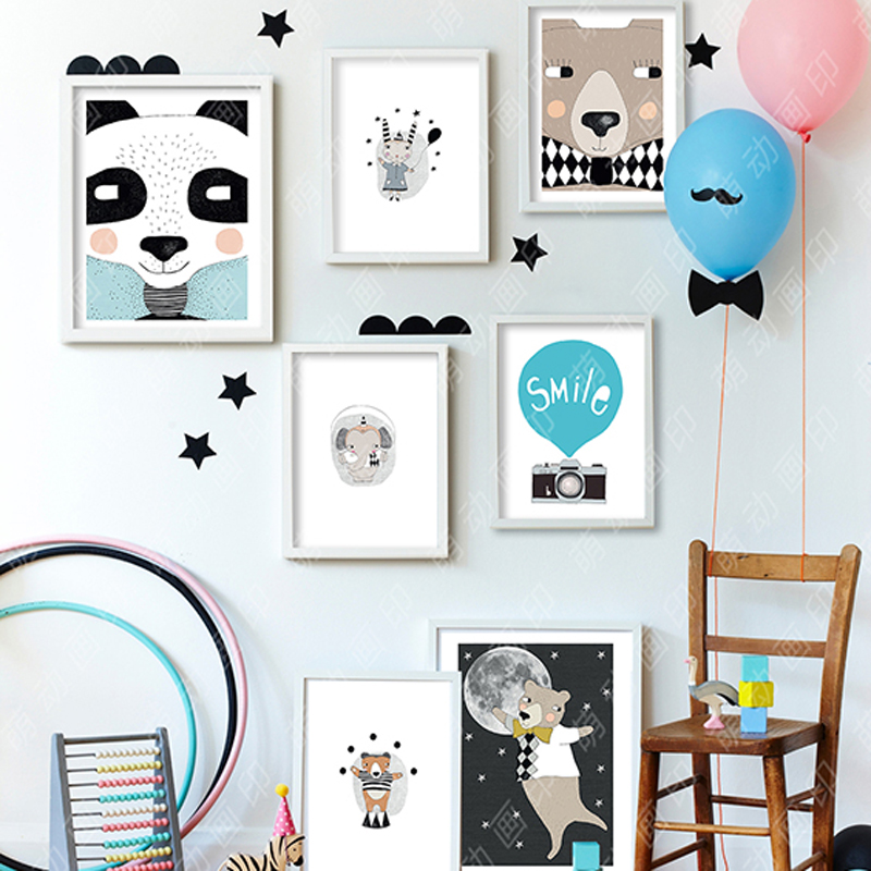 Wall Art Decor Posters : Nordic decoration home decor bear painting poster wall art