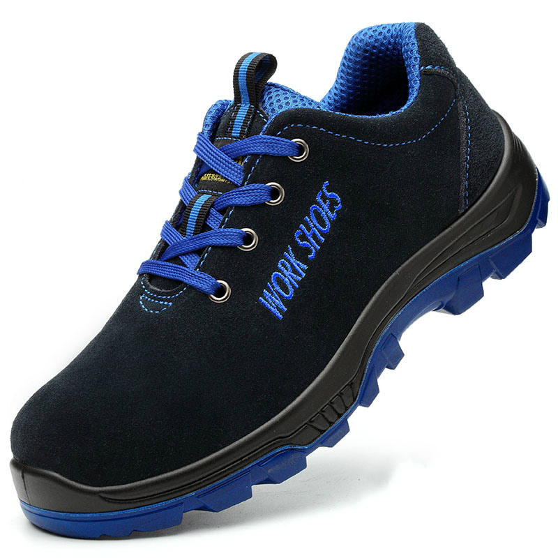 men big size breathable steel toe covers working safety shoes genuine leather anti pierce construction site